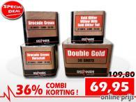 Set van 4 RedWire festivalcakes met allemaal gouden effecten in de aanbieding met 36% korting bij Xena Vuurwerk in Ede