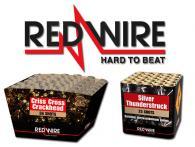 Een overzicht van het complete assortiment RedWire vuurwerk dat verkrijgbaar is in de vuurwerkwinkel van Xena Vuurwerk in Ede