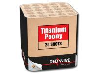 RedWire 25 schots cake met peonies in diverse kleuren en snoeiharde titanium burst. Online te bestellen bij Xena Vuurwerk in Ede