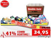 Online aanbieding met 41% korting op een meterpakket in combinatie met een 36 schots gouden cakebox bij Xena Vuurwerk in Ede