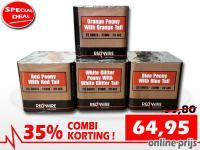Online aanbieding van Xena Vuurwerk in Ede met 35% korting op een set van 4 RedWire festival cakes in de Hollandse kleuren rood, wit, blauw en oranje
