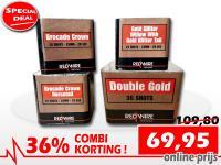 Online aanbieding met set van 4 RedWire cakeboxen met verschillende gouden effecten. Met 36% korting verkrijgbaar bij Xena Vuurwerk in Ede