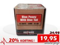25 schots Blue Peony festivalcake van RedWire, nu verkrijgbaar met korting bij Xena Vuurwerk in Ede