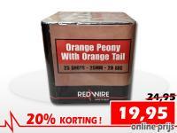 25 schots Orange Peony festivalcake van RedWire, nu verkrijgbaar met korting bij Xena Vuurwerk in Ede