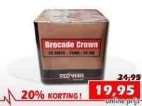 25 schots Brocade Crown festivalcake van RedWire, nu verkrijgbaar met korting bij Xena Vuurwerk in Ede