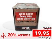 25 schots White Glitter Peony festivalcake van RedWire, nu verkrijgbaar met korting bij Xena Vuurwerk in Ede