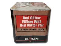 Red Glitter Willow 25 schots festival cake van RedWire. Online te bestellen bij Xena Vuurwerk in Ede