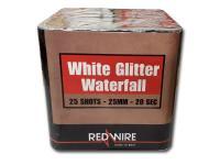 RedWire 25 schots festival cake met white glitter waterfall effect. Verkrijgbaar bij de vuurwerkwinkel van Xena Vuurwerk in Ede