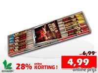 12 vuurpijlen met 4 soorten effecten in een pakket. Online met 28% korting te bestellen bij de vuurwerkwinkel van Xena Vuurwerk in Ede