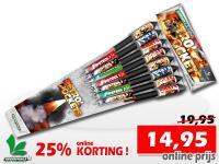 Vuurpijlenpakket met 15 verschillende pijlen. Online met 25% korting te bestellen in de vuurwerkwinkel van Xena Vuurwerk in Ede