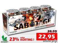 Online aanbieding met 23% korting op deze Sabotage compound van Essentials. Te bestellen bij Xena Vuurwerk in Ede