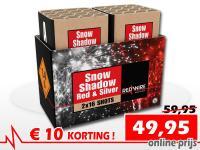 Set van 2 RedWire cakes met uniek red and silver snow effect. Online met korting te bestellen bij Xena Vuurwerk in Ede