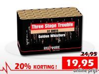 RedWire 32 schots cake met drietrap fluiteffecten met golden tails. Online met korting te bestellen bij Xena Vuurwerk in Ede