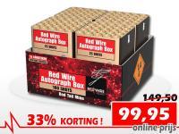 Prachtige RedWire compound met 100 schoten rode boeketten. Online met korting te bestellen bij de vuurwerkwinkel van Xena Vuurwerk in Ede