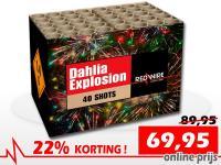 RedWire 40 schots compound met grote dahlia effecten en blinkers. Online met korting verkrijgbaar bij Xena Vuurwerk in Ede