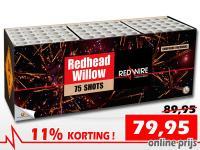 RedWire compound cakebox gevuld met 75 schoten red glittering willow en blue pearls. Online met korting verkrijgbaar bij Xena Vuurwerk in Ede