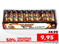 Voordeelverpakking met 32 single shot mortiertjes met harde titanium burstknal. Online met korting te bestellen bij Xena Vuurwerk in Ede