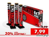 Set van 4 grote 25mm singleshot mortieren met fluitstaart en glitterboeket. Online met korting te bestellen bij Xena Vuurwerk in Ede