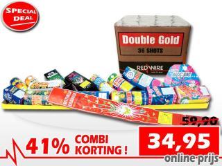 Speciale combinatiekorting bij aankoop van een meterpakket en een Double Gold 36 schots cakebox. Online te bestellen bij Xena Vuurwerk in Ede