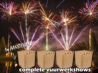Heftige compound cakeboxen met compleet doorverbonden vuurwerkshows. Online verkrijgbaar bij Xena Vuurwerk in Ede