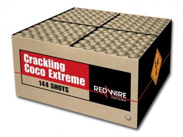 Zware RedWire compound cake met 144 schoten van gouden brocade, gekleurde sterren en crackling. Nu online te bestellen bij Xena Vuurwerk in Ede