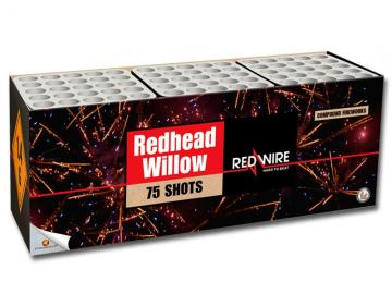 Zware Pyromould 75 schots RedWire compound met red glitter willows en blue pearls. Online te bestellen bij Xena Vuurwerk in Ede