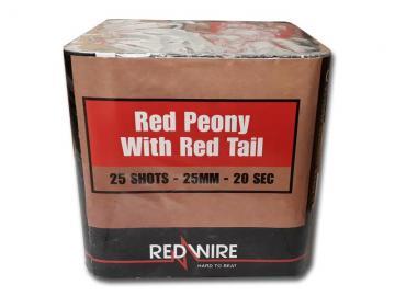 RedWire 25 schots festival cake met titanium burst en red peony effect. Verkrijgbaar bij de vuurwerkwinkel van Xena Vuurwerk in Ede