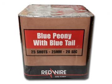 RedWire 25 schots festival cake met titanium burst en blue peony effect. Verkrijgbaar bij de vuurwerkwinkel van Xena Vuurwerk in Ede