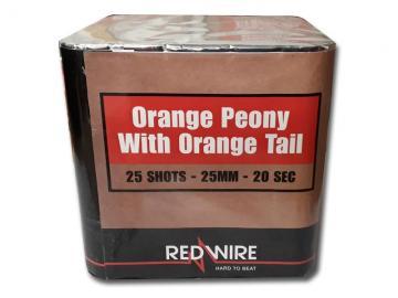 RedWire 25 schots festival cake met titanium burst en orange peony effect. Verkrijgbaar bij de vuurwerkwinkel van Xena Vuurwerk in Ede