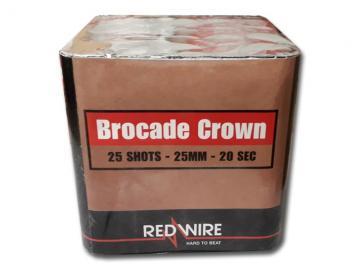 RedWire 25 schots festival cake met brocade crown gouden effect. Verkrijgbaar bij de vuurwerkwinkel van Xena Vuurwerk in Ede