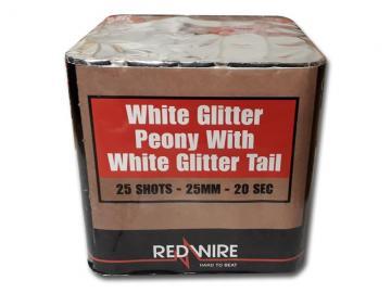 RedWire 25 schots festival cake met harde burst en white glitter peony effect. Verkrijgbaar bij de vuurwerkwinkel van Xena Vuurwerk in Ede