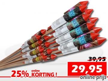 Showtime vuurpijlenpakket met 18 verschillende vuurpijlen. Nu online met 25% korting te bestellen bij Xena Vuurwerk in Ede