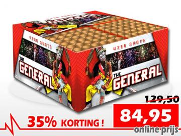 Top Aanbieding - The General 144 schots combibox met kleurrijke mix aan effecten. Nu met 35% korting online te bestellen bij Xena Vuurwerk in Ede