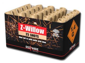 Waaiercake met gouden palmen en blauwe parels van RedWire. Verkrijgbaar bij de vuurwerkwinkel van Xena Vuurwerk in Ede