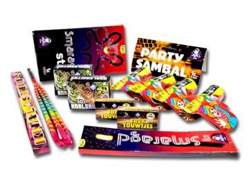 Gevarieerd pakket vol diverse soorten kindervuurwerk. Verkrijgbaar bij Xena Vuurwerk in Ede of bestel online!