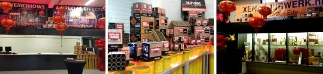 De vuurwerkwinkel van Xena Vuurwerk BV is gevestigd te Hoorn 20 in Ede. Kom gerust eens een kijkje nemen in onze showroom!